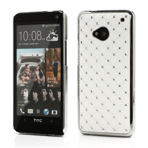 Electroplating Bling Starry Sky Rhinestone Case Cover for HTC One M7 801e - White