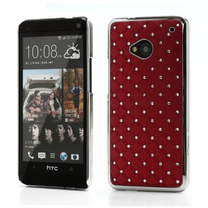 Electroplating Bling Starry Sky Rhinestone Hard Case Shell for HTC One M7 801e - Red