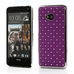 Electroplating Bling Starry Sky Diamond Case for HTC One M7 801e - Purple