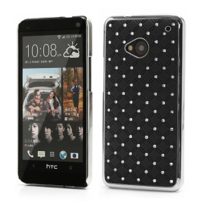 Electroplating Bling Starry Sky Rhinestone Case Cover for HTC One M7 801e - Black