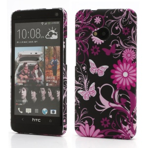 Butterflies and Floral Plastic Case Shell for HTC One M7 801e