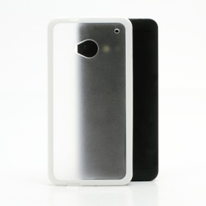 Matte Plastic Back Case Cover w/ TPU Frame for HTC One M7 801e - Transparent / White