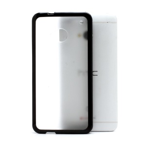 Matte Plastic Back Case w/ TPU Frame for HTC One M7 801e - Transparent / Black