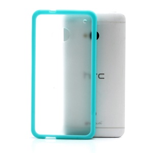 Matte Plastic Back Case w/ TPU Frame for HTC One M7 801e - Transparent / Cyan