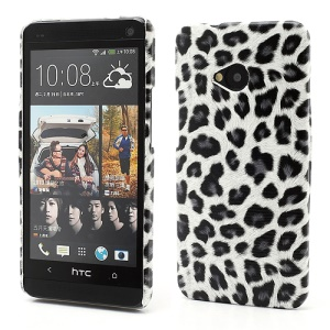 Leopard Skin Hard Protective Case Shell for HTC One M7 801e - White / Grey