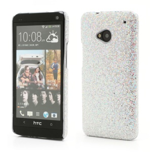 Glittery Sequins Plastic Case Cover for HTC One M7 801e - Silver