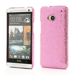 Glittery Sequins Plastic Case Shell for HTC One M7 801e - Pink