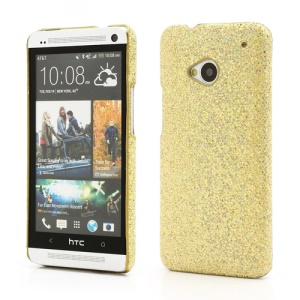 Glittery Sequins Plastic Case Cover for HTC One M7 801e - Gold