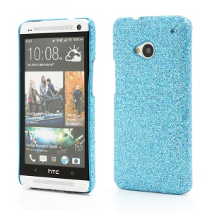 Glittery Sequins Plastic Case Cover for HTC One M7 801e - Blue