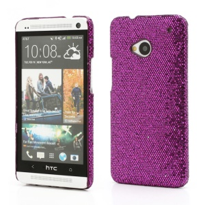 Glittery Sequins Plastic Case Cover for HTC One M7 801e - Purple