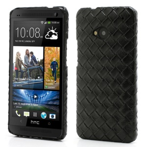 Woven Pattern Leather Skin Hard Plastic Case Accessories for HTC One M7 801e - Black