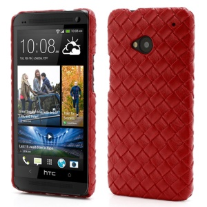 Woven Pattern Leather Skin Hard Plastic Case Accessories for HTC One M7 801e - Red