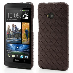Woven Pattern Leather Skin Hard Plastic Case Accessories for HTC One M7 801e - Brown