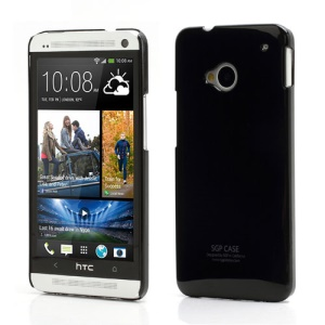 Ultra Thin Glossy Plastic SGP Case Cover for HTC One M7 801e - Black