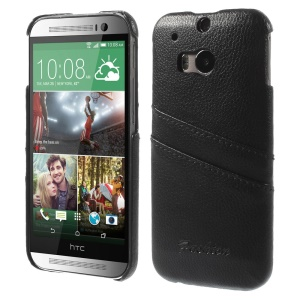 Litchi Skin Genuine Full Grain Leather Coated Hard Case w/ Card Slots for HTC One M8 - Black