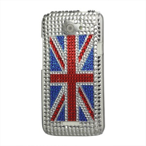 Union Jack Flag Rhinestone Hard Case for HTC One X S720e / One XL / One X Plus