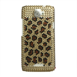 Leopard Bling Rhinestone Hard Case for HTC One X S720e / One XL / One X Plus