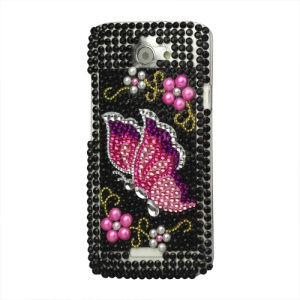 Butterfly Diamond Hard Case Cover for HTC One X S720e / One XL / One X Plus