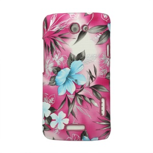 Flowers Leather Skin Hard Case for HTC One X S720e / One XL / One X Plus