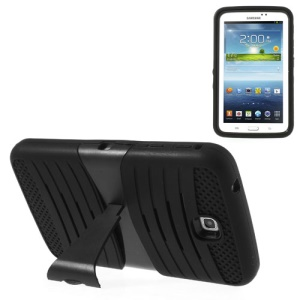 Black Heavy-duty Anti-slip PC + Silicone Combo Case w/ Stand for Samsung Galaxy Tab 3 7.0 P3200 P3210