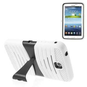White Heavy-duty Anti-slip PC + Silicone Combo Case w/ Stand for Samsung Galaxy Tab 3 7.0 P3200 P3210