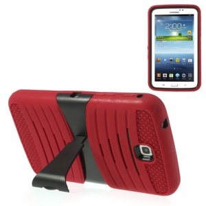 Red 2 in 1 Anti-slip PC + Silicone Combo Cover w/ Stand for Samsung Galaxy Tab 3 7.0 P3200 T210