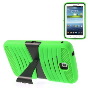 Green 2 in 1 Anti-slip PC + Silicone Combo Cover w/ Stand for Samsung Galaxy Tab 3 7.0 P3200 T210