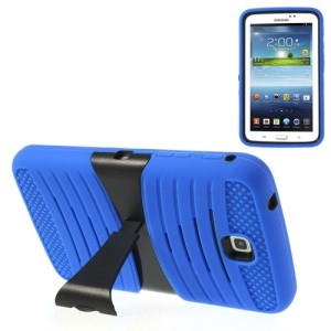 Blue 2 in 1 Anti-slip PC + Silicone Armored Hybrid Case w/ Stand for Samsung Galaxy Tab 3 7.0 P3200 T210