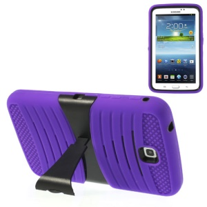 Purple 2 in 1 Anti-slip PC + Silicone Armored Hybrid Shell w/ Stand for Samsung Galaxy Tab 3 7.0 P3200 T211