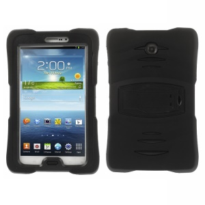 Military Duty Silicone & PC Robot Case w/ Stand for Samsung Galaxy Tab 3 7.0 P3200 P3210 T2105 - Black