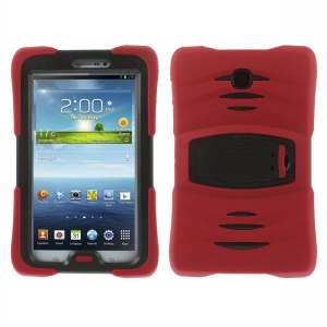 Military Duty Silicone & PC Robot Case w/ Stand for Samsung Galaxy Tab 3 7.0 P3200 - Red