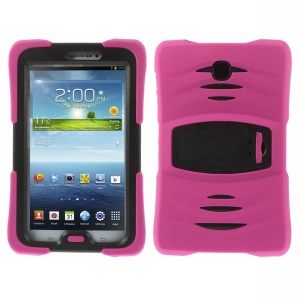 Military Duty Silicone & PC Robot Case w/ Stand for Samsung Galaxy Tab 3 7.0 P3200 - Rose