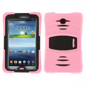 Military Duty Silicone & PC Robot Case w/ Stand for Samsung Galaxy Tab 3 7.0 P3210 - Pink