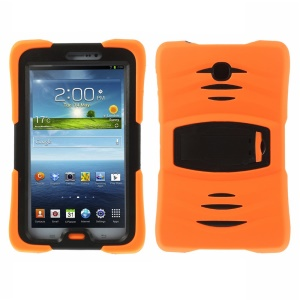 Military Duty Silicone & PC Robot Case w/ Stand for Samsung Galaxy Tab 3 7.0 P3210 - Orange