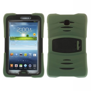 Military Duty Silicone & PC Robot Cover w/ Stand for Samsung Galaxy Tab 3 7.0 P3210 - Army Green