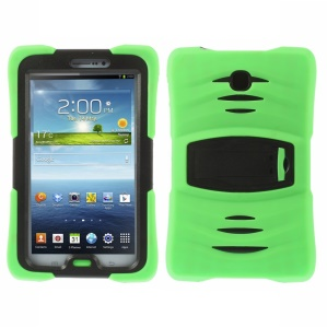 Military Duty Silicone & PC Robot Cover w/ Stand for Samsung Galaxy Tab 3 7.0 P3210 - Green