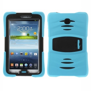 Military Duty Silicone & PC Robot Cover w/ Stand for Samsung Galaxy Tab 3 7.0 P3210 - Light Blue