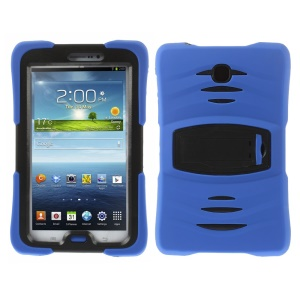Military Duty Silicone & PC Robot Cover w/ Stand for Samsung Galaxy Tab 3 7.0 P3210 - Deep Blue
