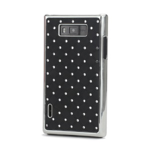 Baby-Breath Rhinestone Plating Hard Shell Case  for LG Optimus L7 P700 P705 - Black