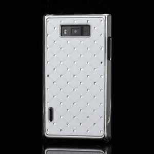 Baby-Breath Rhinestone Plating Hard Shell Case  for LG Optimus L7 P700 P705 - White