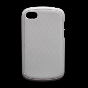 Cube Pattern TPU and Plastic Hybrid Case Shell for BlackBerry Q10 - White