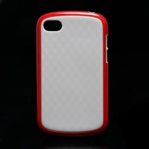 Cube Pattern TPU and Plastic Hybrid Case Shell for BlackBerry Q10 - White / Red