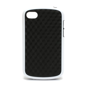 Cube Style TPU &amp; Plastic Hybrid Cover Case for BlackBerry Q10 - Black / White