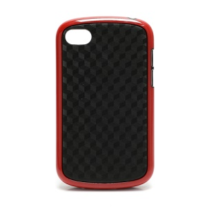 Cube Style TPU & Plastic Hybrid Cover Case for BlackBerry Q10 - Black / Red