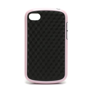 Cube Style TPU & Plastic Hybrid Cover Case for BlackBerry Q10 - Black / Pink