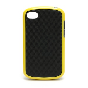 Cube Style TPU & Plastic Hybrid Cover Case for BlackBerry Q10 - Black / Yellow