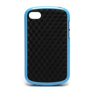 Cube Style TPU & Plastic Hybrid Cover Case for BlackBerry Q10 - Black / Blue