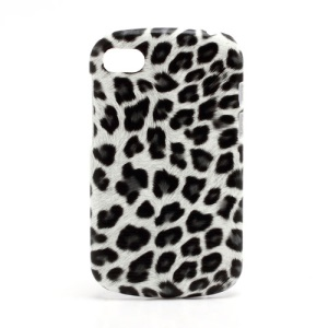Leopard Leather Coated Plastic Case Cover for BlackBerry Q10 - Grey / White