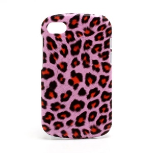 Leopard Leather Coated Plastic Case Shell for BlackBerry Q10 - Orange / Pink