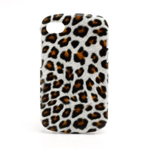 Leopard Leather Coated Plastic Case Shell for BlackBerry Q10 - Orange / White